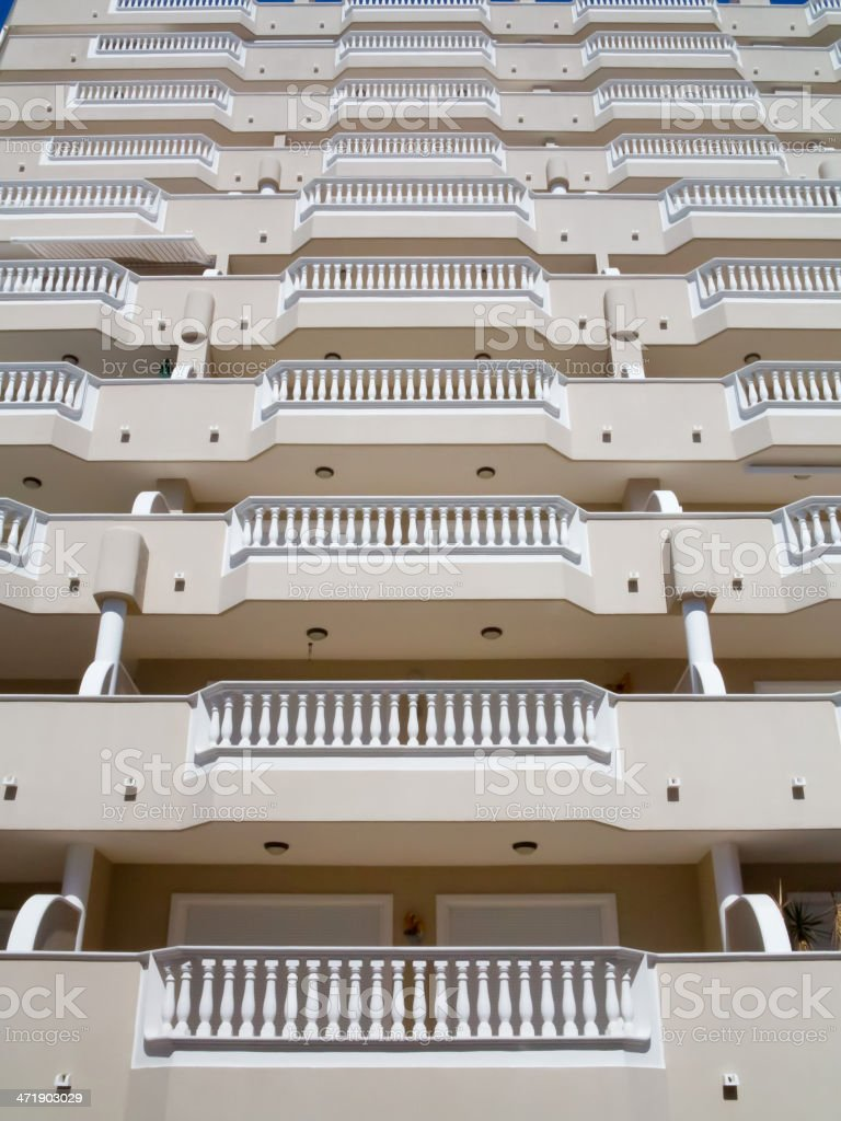 Balconies with white balustrades royalty-free stock photo