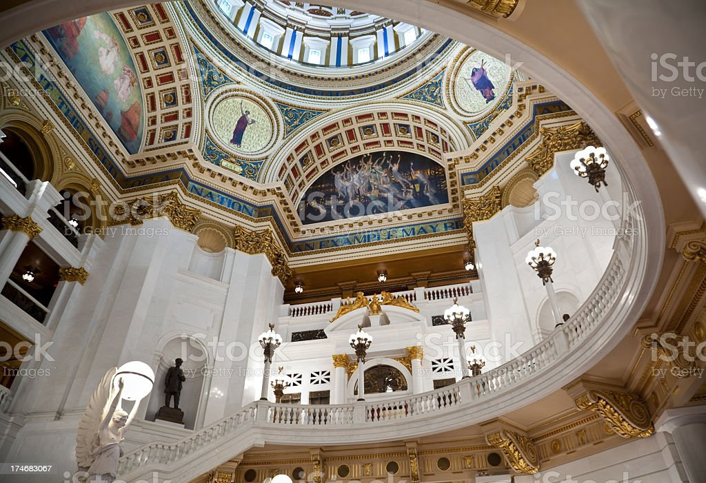 Balcony and Ceiling in the Pennsylvania State Capitol Building stock photo
