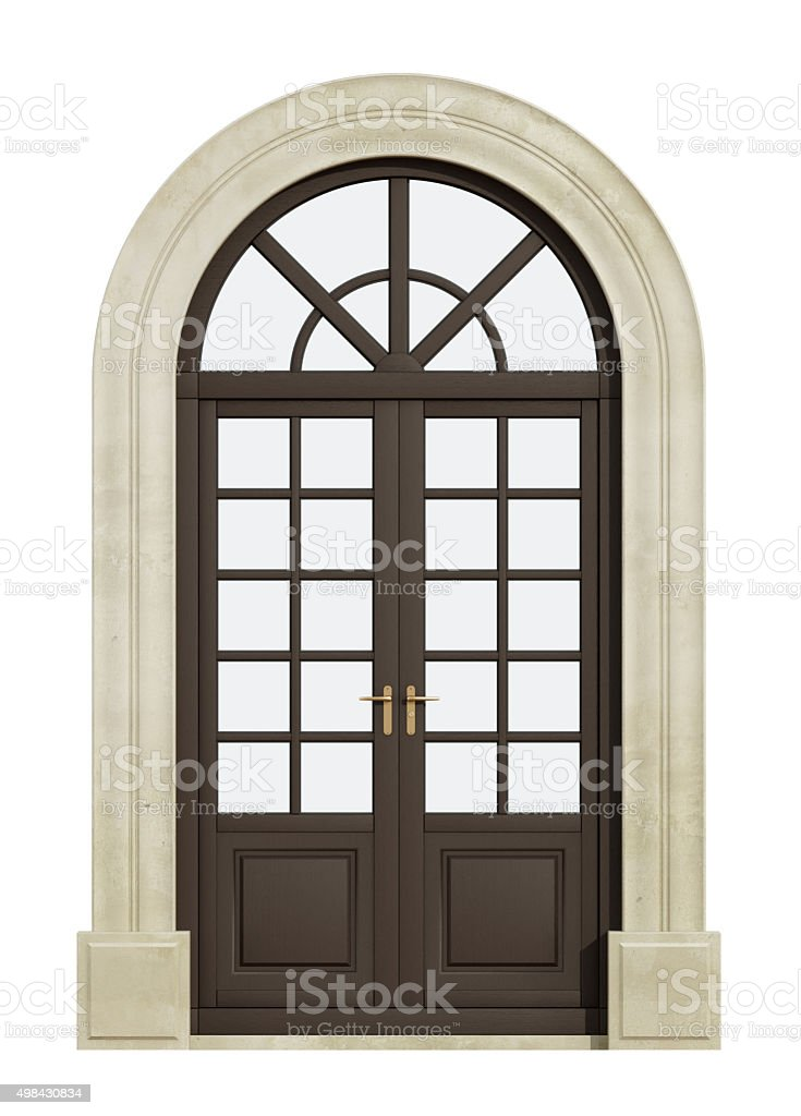 Balcony arch door on white stock photo
