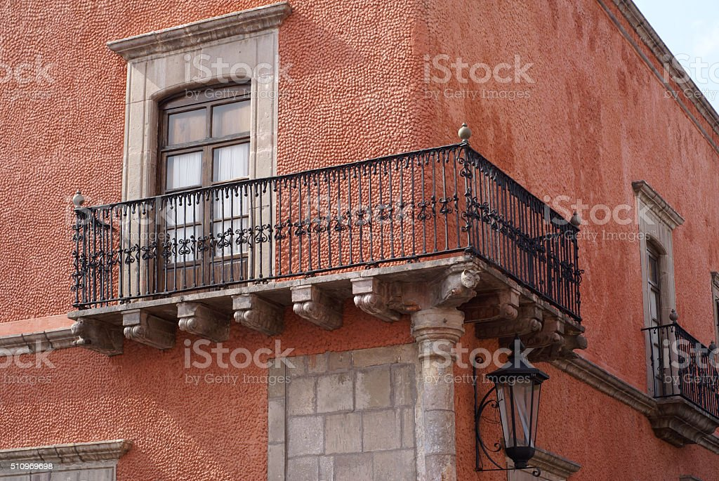 Balcony at Santiago de Queretaro, Mexico stock photo