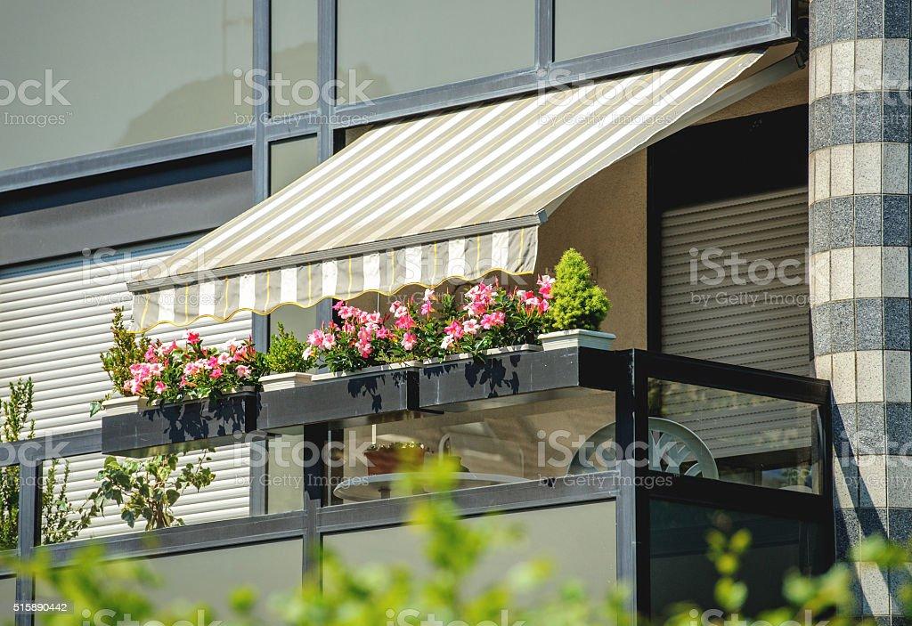 Balcony awning sun protection stock photo