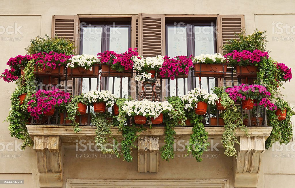 Balcony Decorated with Flowers stock photo