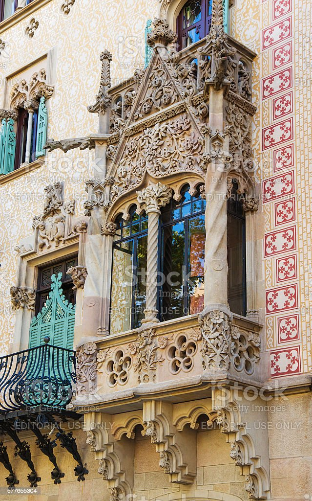 Balcony in Casa Amatller in Eixample district of Barcelona stock photo