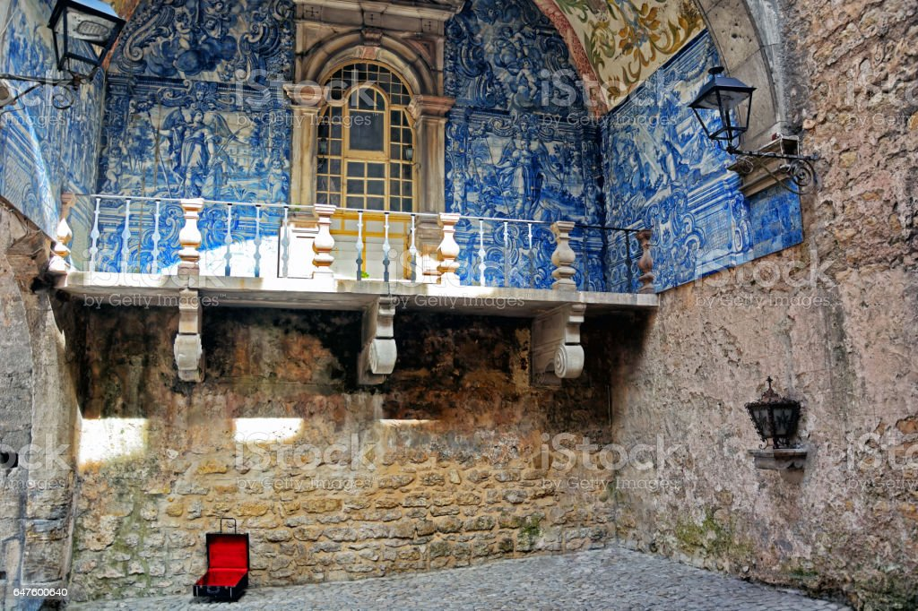 Balcony in Obidos, Portugal stock photo