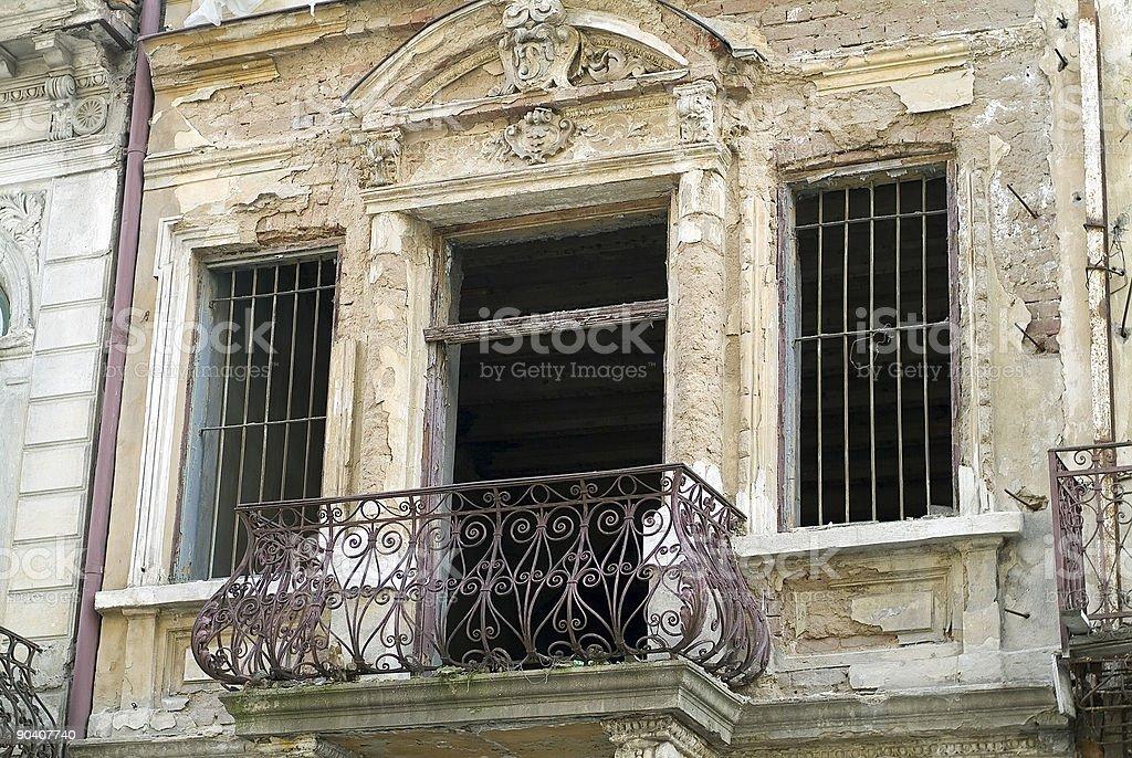 balcony in ruin royalty-free stock photo