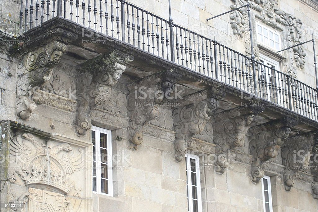 Balcony in Santiago de Compostela, 16th century stock photo