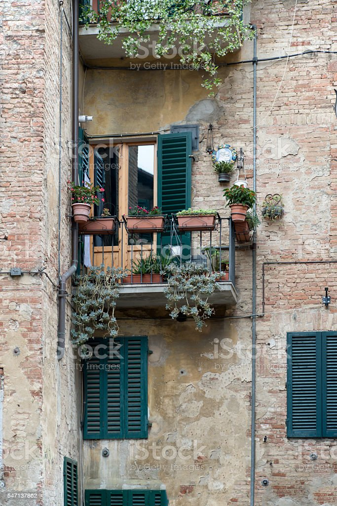 Balcony in Siena royalty-free stock photo