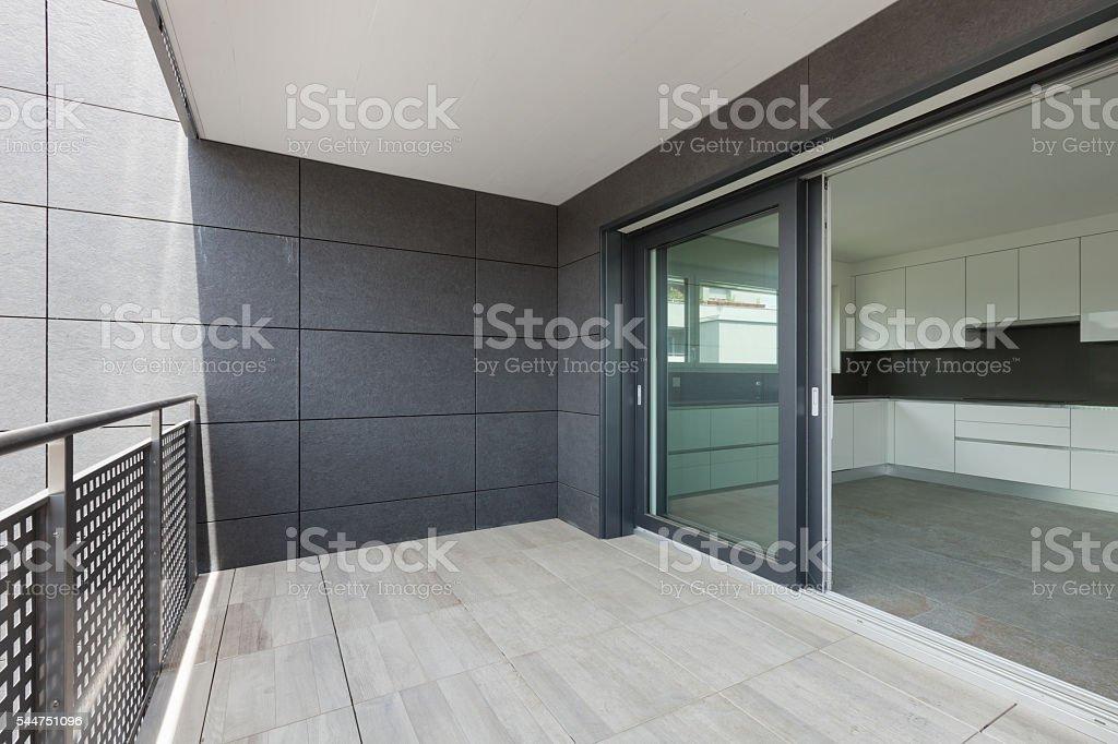 balcony of a building stock photo
