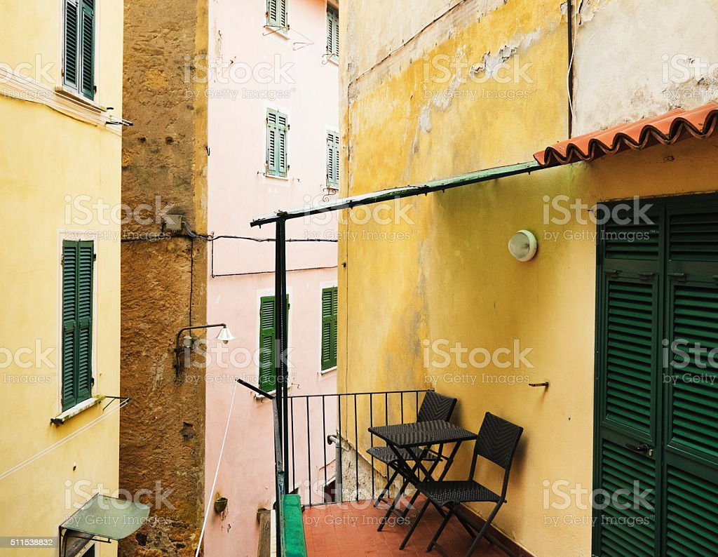 Balcony of  a colorful home in Lerici, Liguria, Italy stock photo