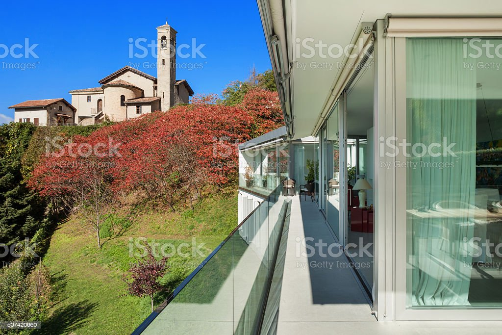 balcony of a modern house stock photo