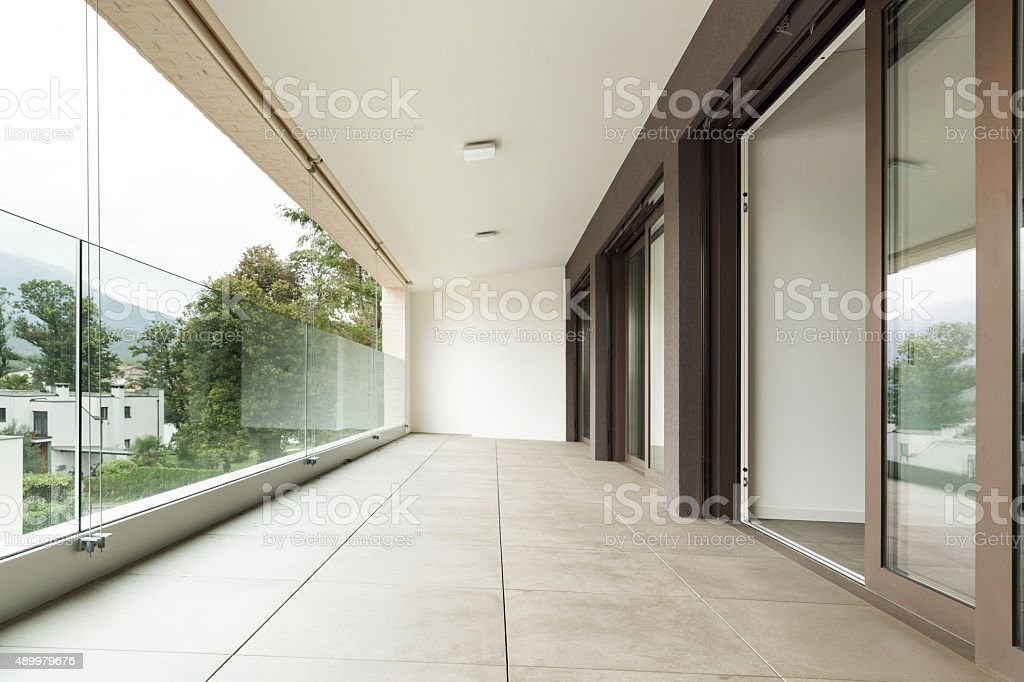 balcony of a new apartment stock photo