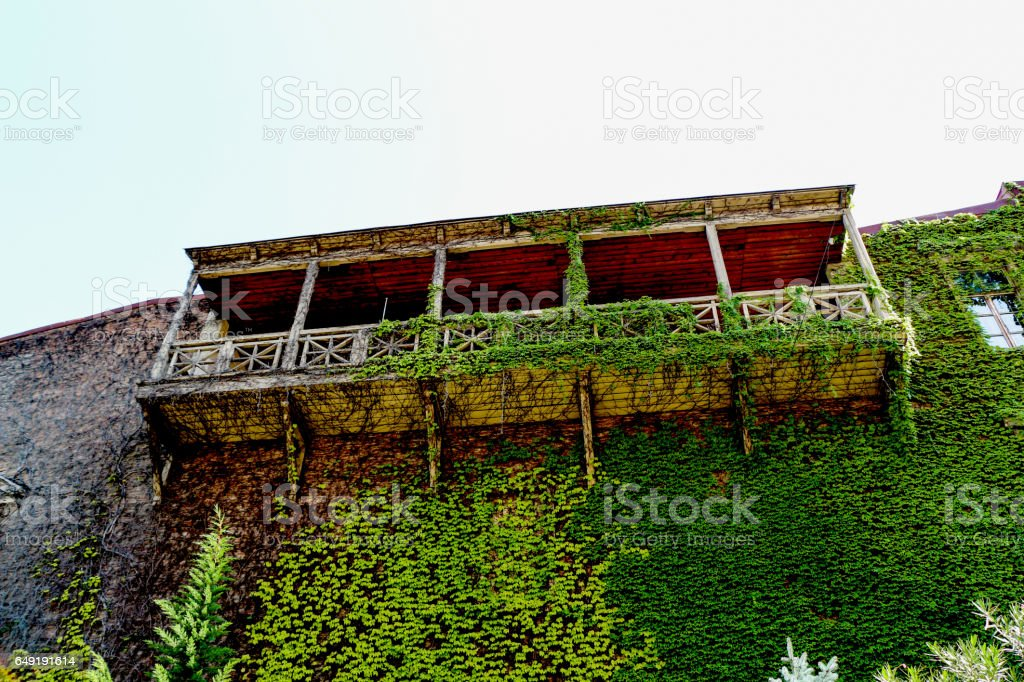 Balcony of a Traditional Georgian houses made of wood in Tbilisi stock photo