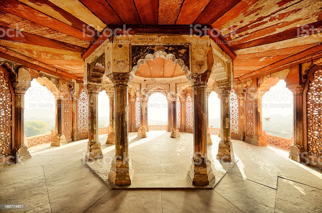 Balcony of Agra Fort, Agra, India stock photo
