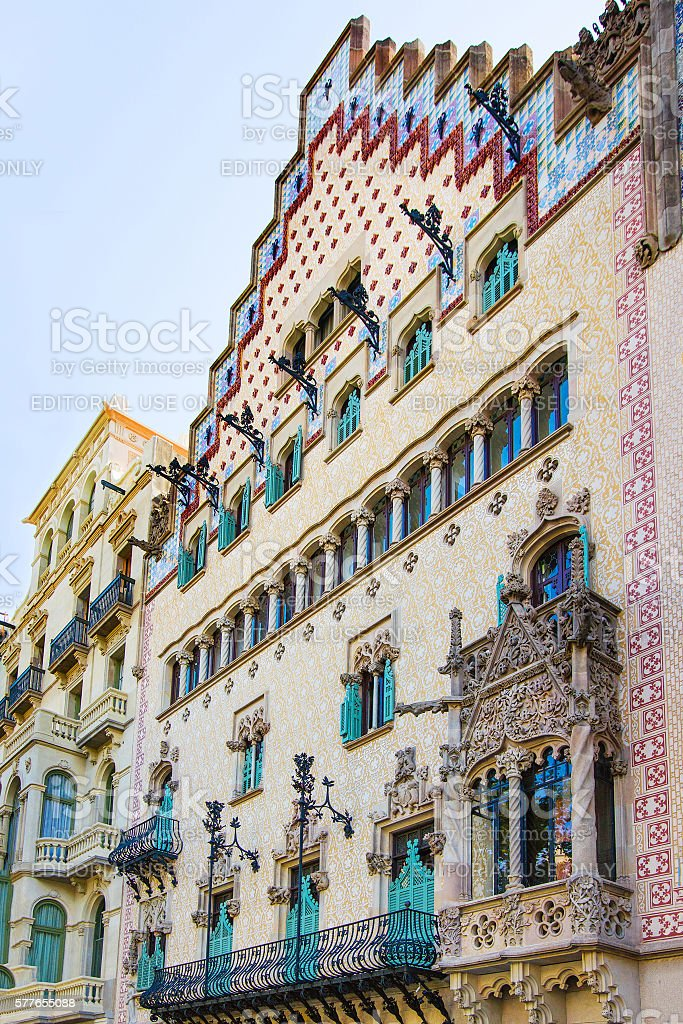 Balcony of Casa Amatller in Eixample district in Barcelona stock photo
