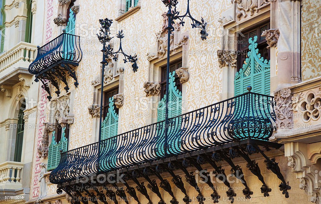 Balcony of Casa Amatller in Eixample district of Barcelona stock photo