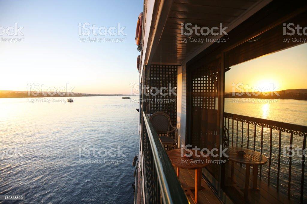 Balcony of Cruise Ship at Sunset stock photo