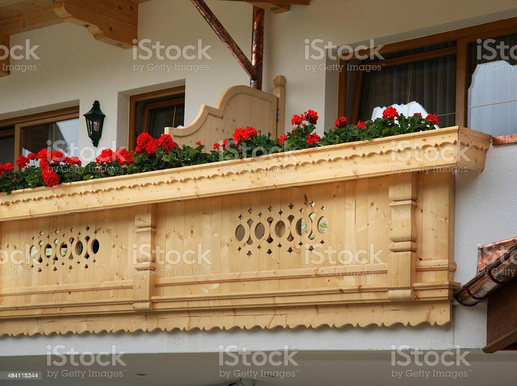 Balcony of house. Mayrhofen. Austria stock photo