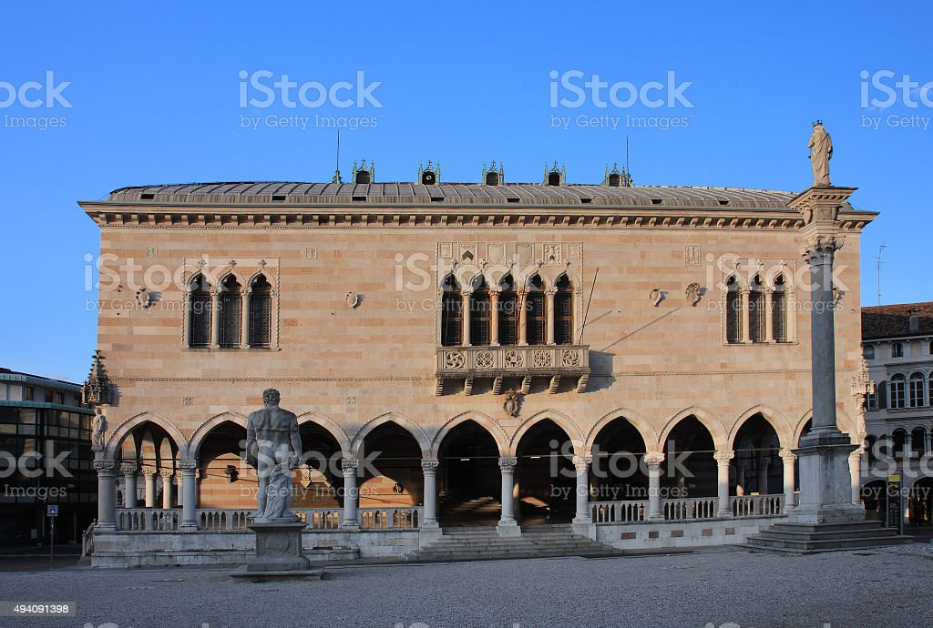 Balcony of Lionello in Udine, Italy at sunrise time stock photo