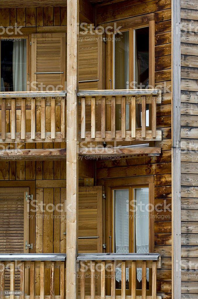balcony of mountain chalet stock photo