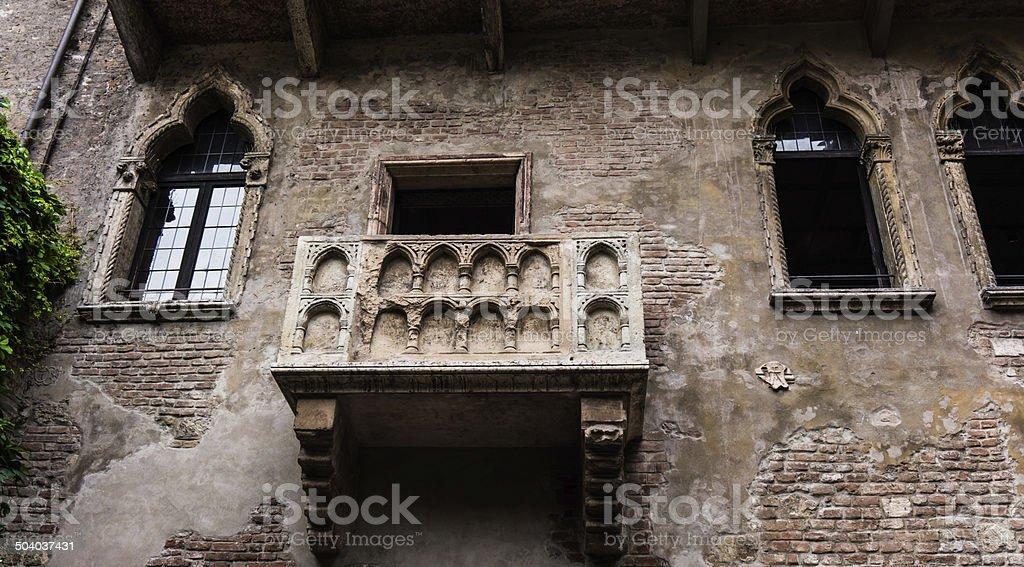 Balcony of Romeo and Juliet in Verona, Italy . stock photo