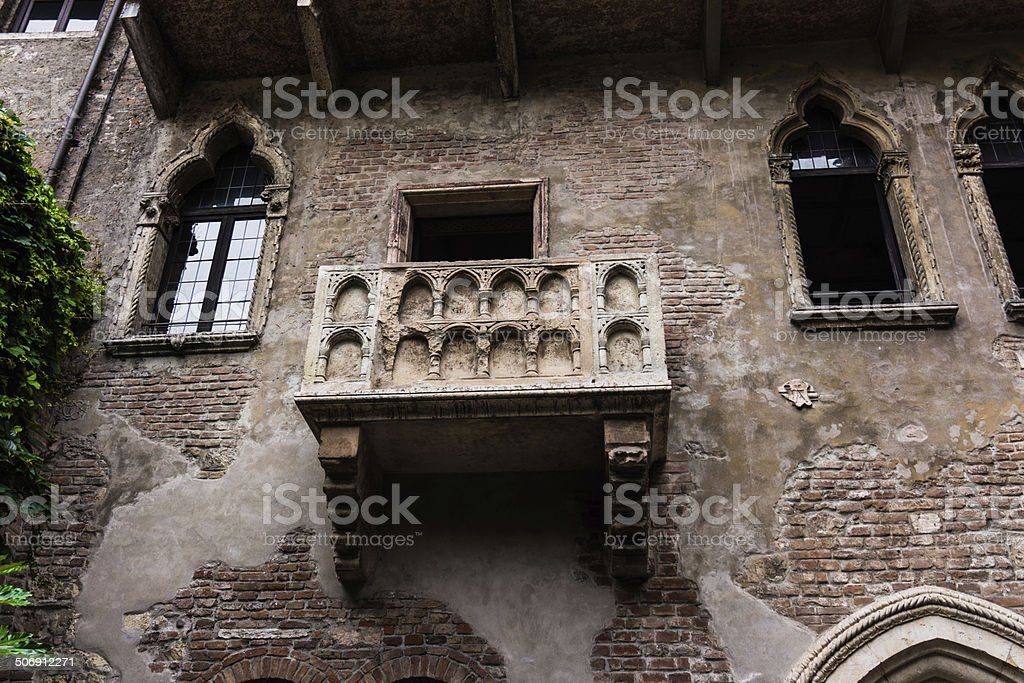 Balcony of Romeo and Juliet in Verona, Italy . stock photo