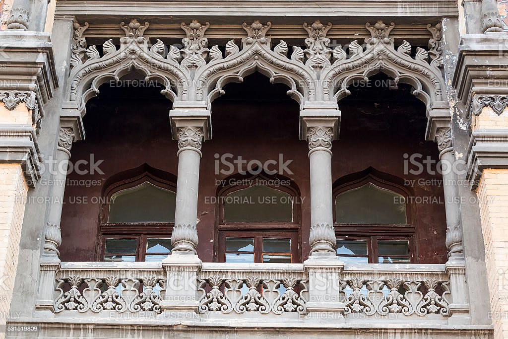 Balcony of the building above the main entrance stock photo