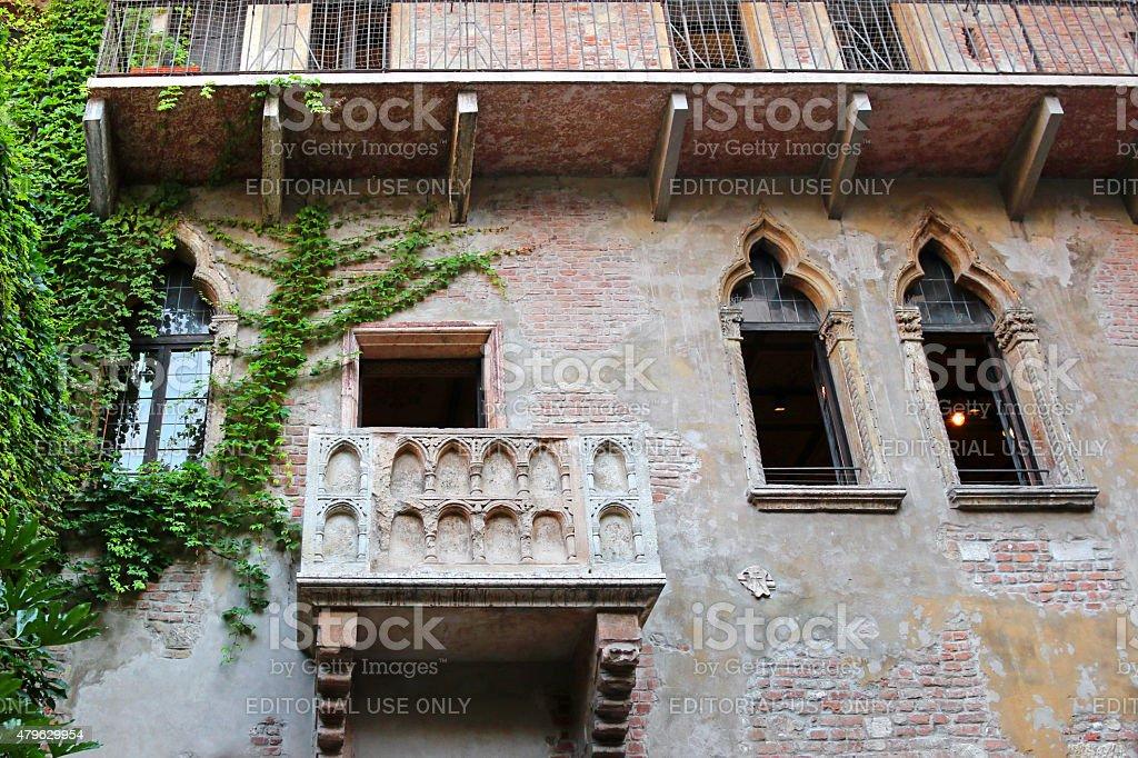 Balcony of the Juliet's House (Casa di Giulietta) stock photo