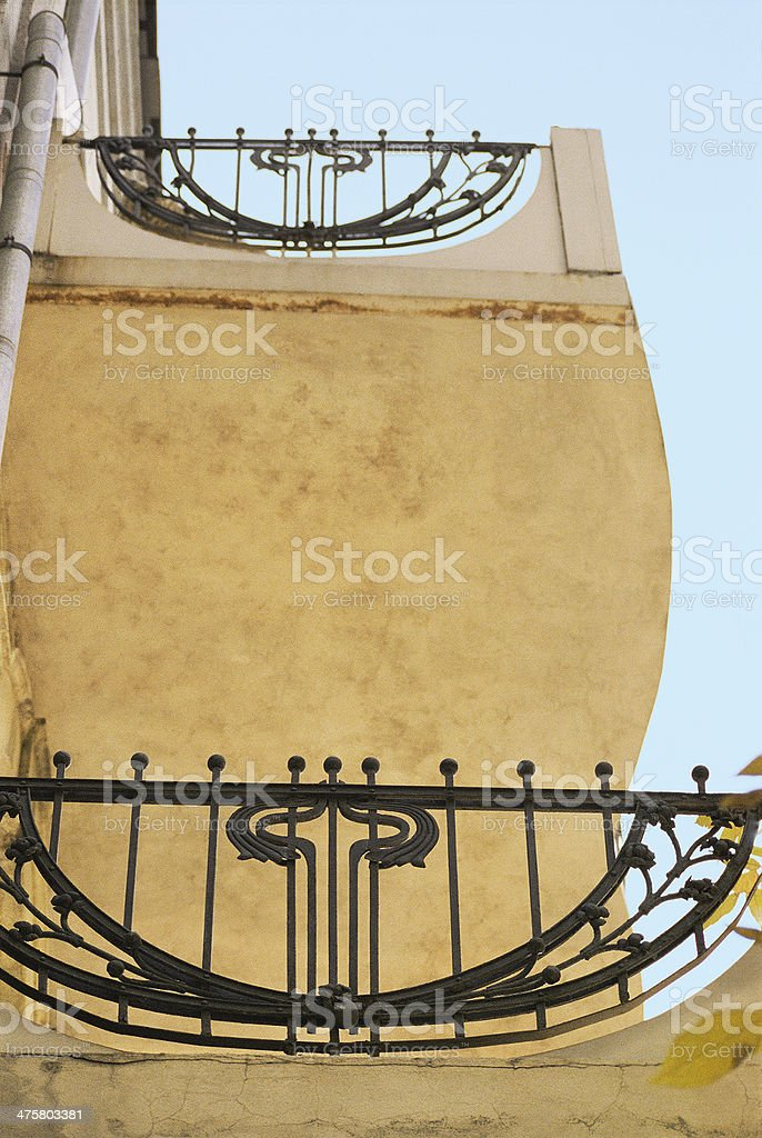 Balcony of the old house in Art Nouveau style (fragment). stock photo