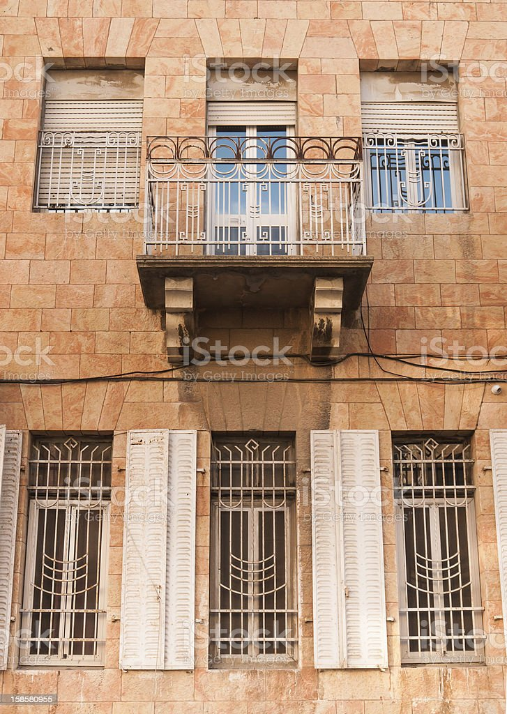 Balcony off old Jerusalem Building stock photo