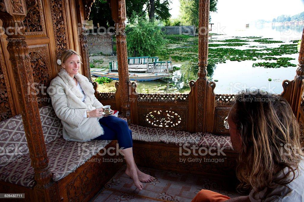 balcony on a house boat stock photo