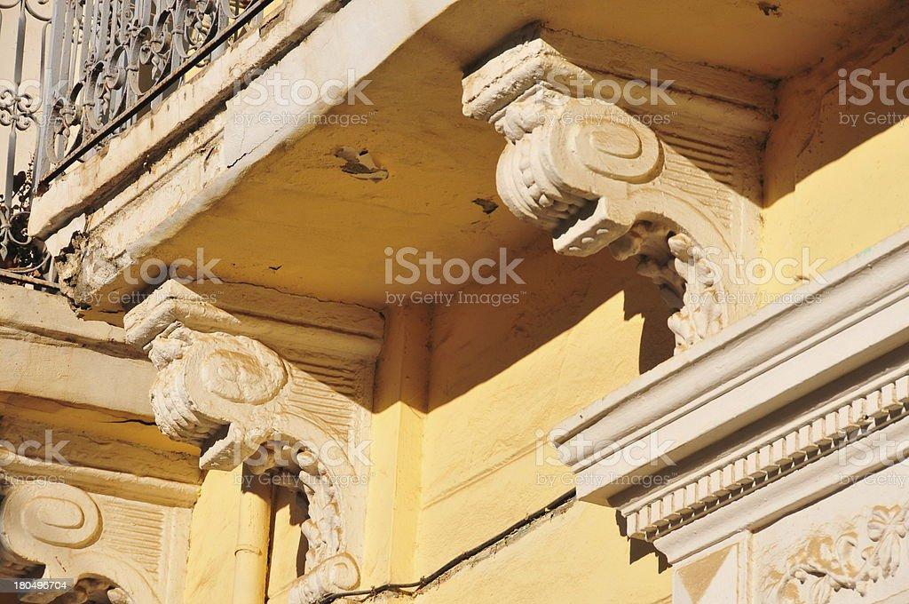 balcony on console brackets / corbels stock photo
