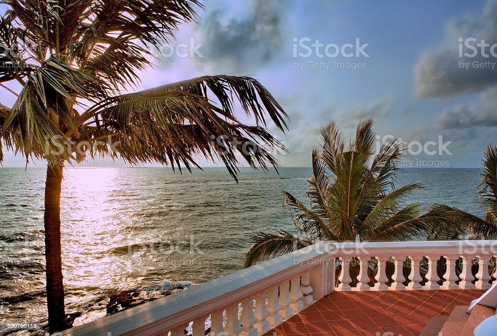 Balcony on tropic sea shore in Sri Lanka stock photo