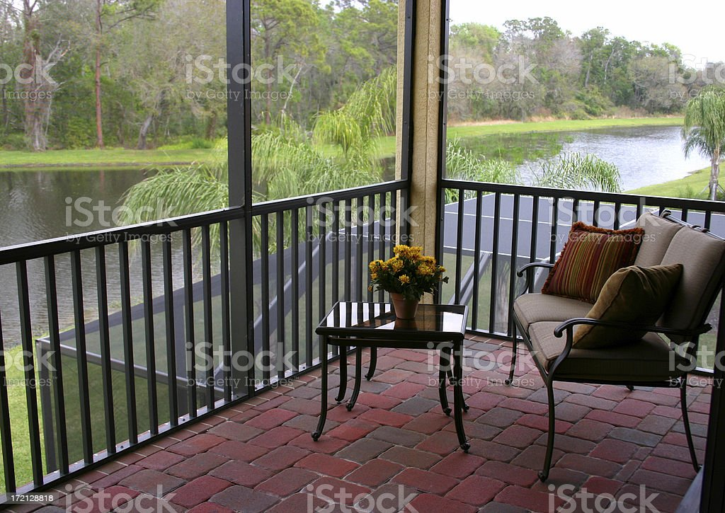 Balcony over a Tropical Lake royalty-free stock photo
