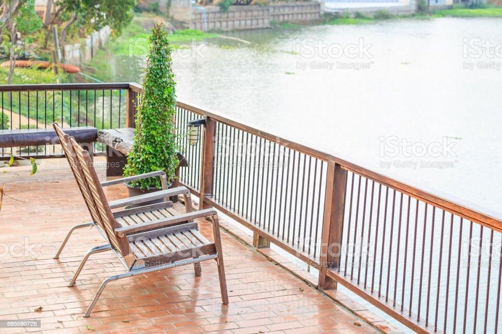 Balcony river view. stock photo