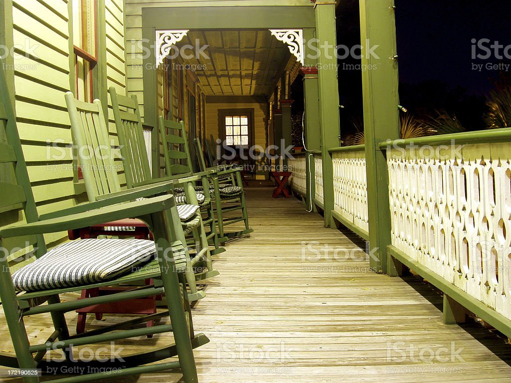 Balcony & Rocking Chairs - Nightime in the South royalty-free stock photo