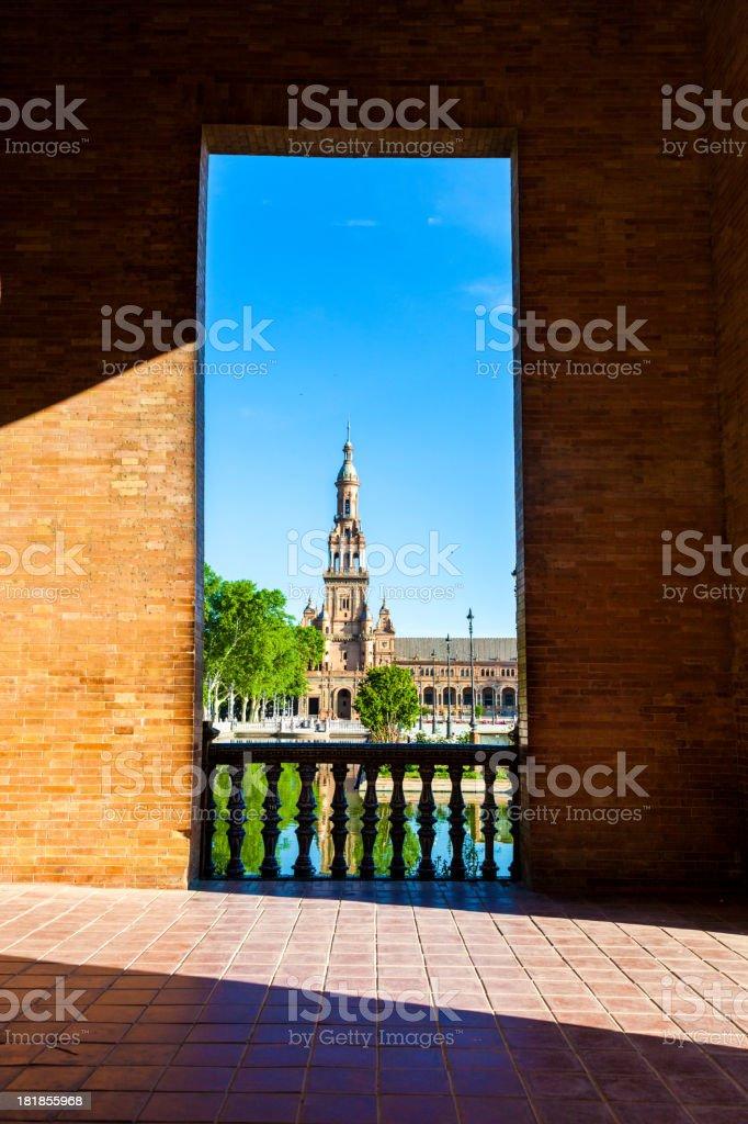 Balcony to Plaza de Espana in Seville royalty-free stock photo