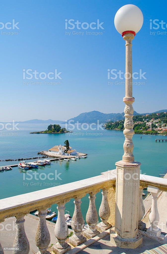 Balcony view of Vlacherna monastery in Corfu, Greece. stock photo