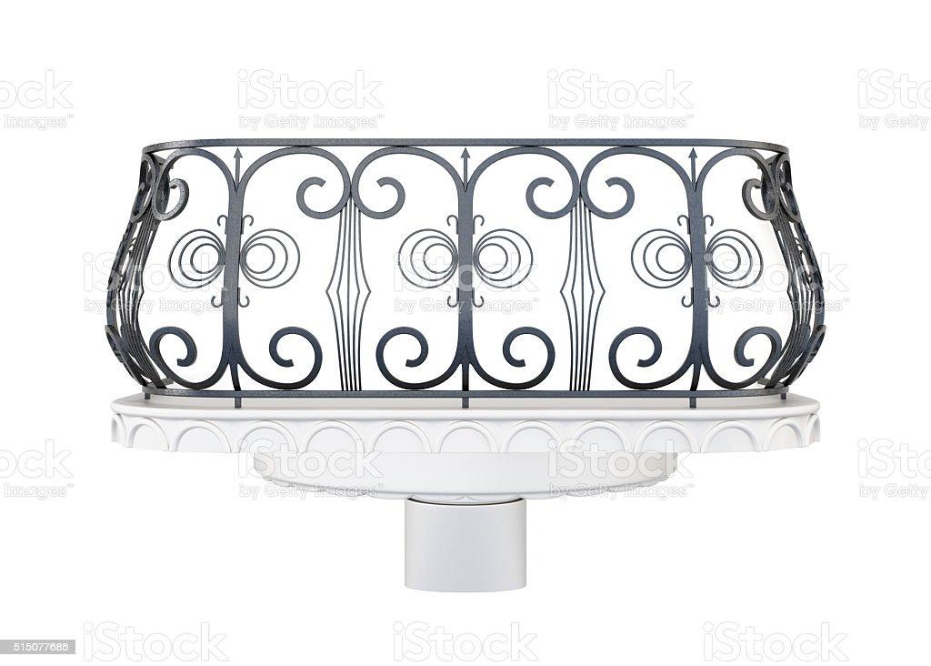 Balcony with a decorative railing isolated on white background stock photo