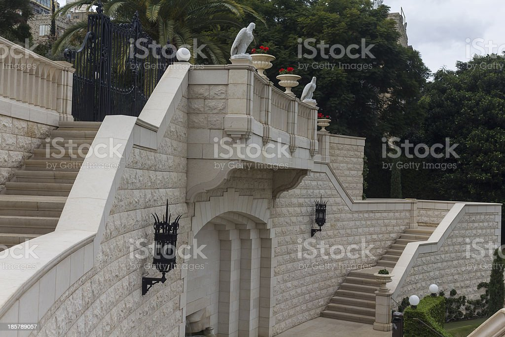 Balcony with a ladder stock photo
