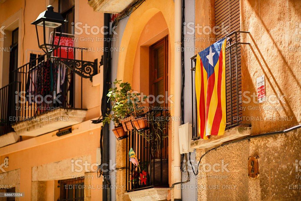Balcony with Catalan flag. stock photo