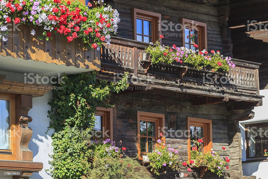 Balcony with flower boxes royalty-free stock photo