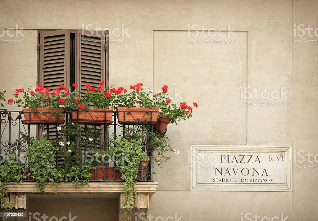 Balcony with flowers - Piazza Navona  Rome, Italy royalty-free stock photo