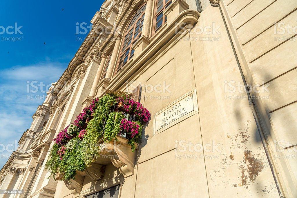 Balcony with flowers - Piazza Navona Rome, Italy stock photo