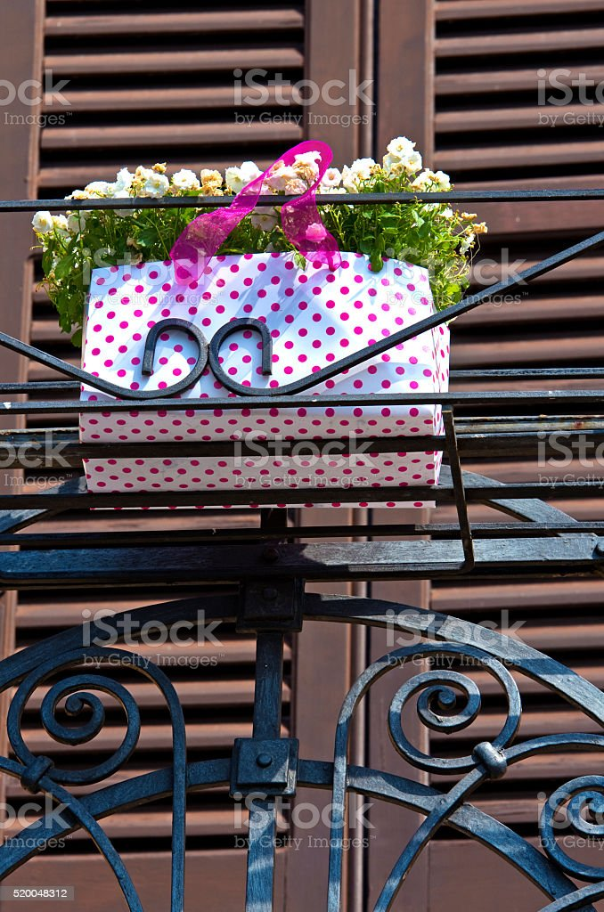Balcony with flowers royalty-free stock photo