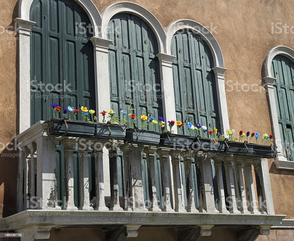 balcony with glass flowers produced in a factory of Murano royalty-free stock photo