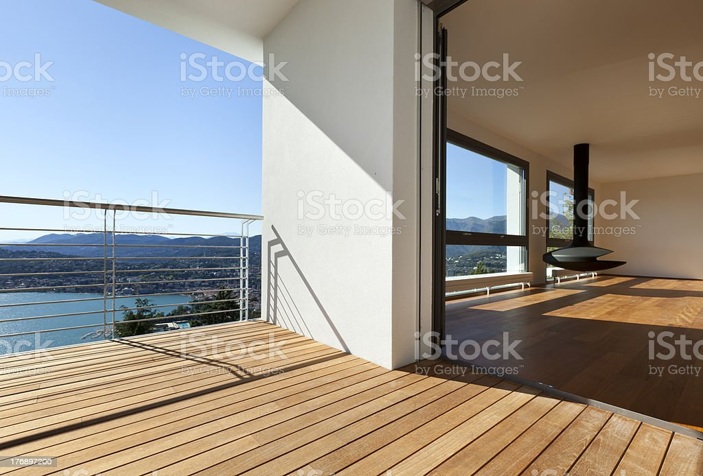 balcony with panoramic view stock photo