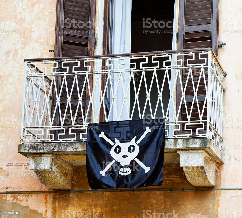 Balcony with pirate flag stock photo