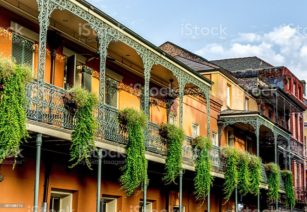 Balcony with Plants #12 French Quarter New Orleans stock photo