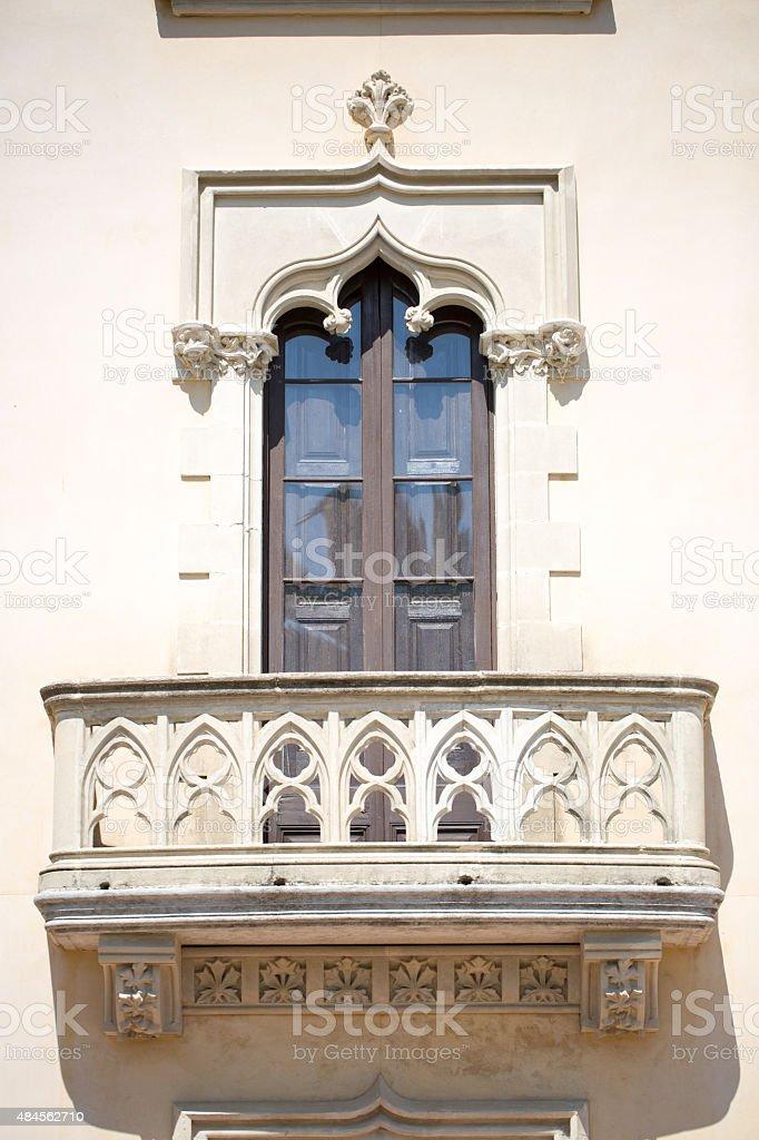 Balcony with stucco stock photo