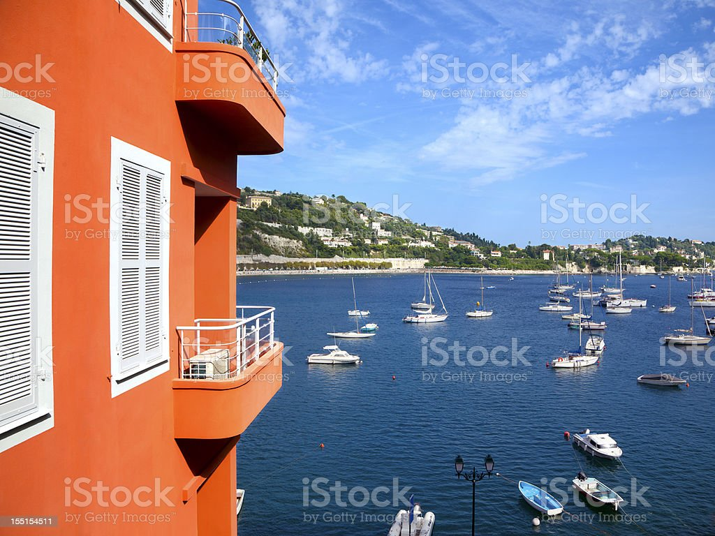 Balcony with view of Villefranche-sur-Mer, France royalty-free stock photo